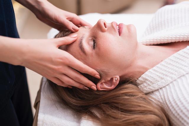 Woman receives massage
